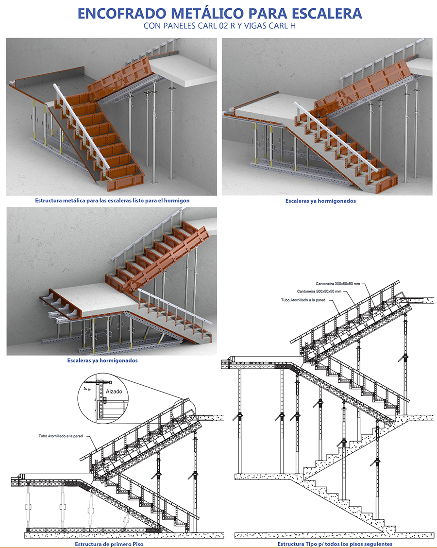 Carldora for Encofrado de escaleras de concreto